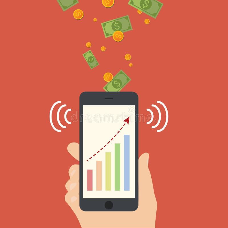 Mobil betalning med för telefonteknologi för cell den smarta illustrationen för vektor royaltyfri illustrationer
