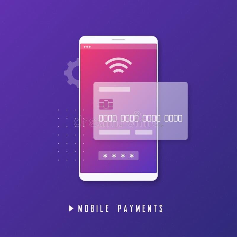 Mobil betalning, online-bankrörelse, begrepp för pengaröverföring royaltyfri illustrationer