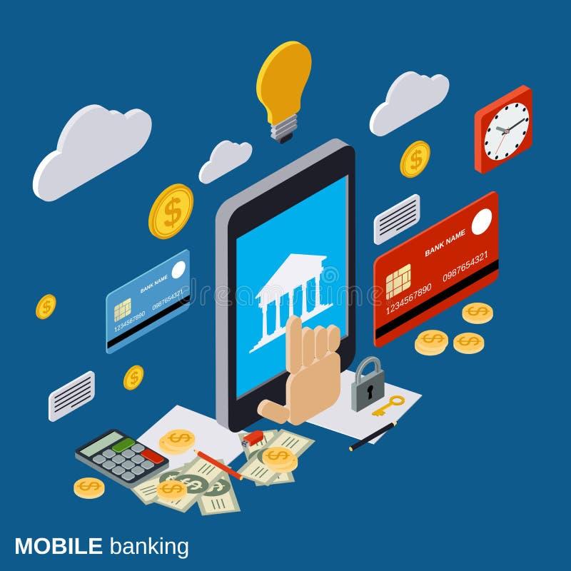 Mobil betalning, online-bankrörelsevektorbegrepp stock illustrationer