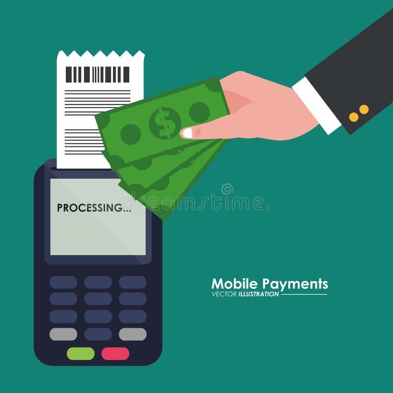 Mobil betalningdataphone-hand med räkningdollaren vektor illustrationer