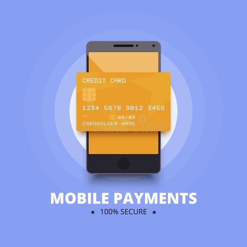 Mobil betalningillustration med smartphonen och kreditering, debiteringkort stock illustrationer