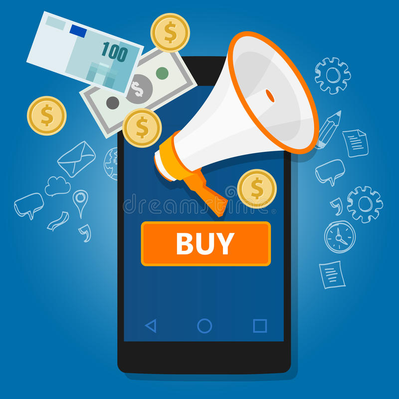 Mobil betalningklick som köper online-transaktionstelefonkommers vektor illustrationer