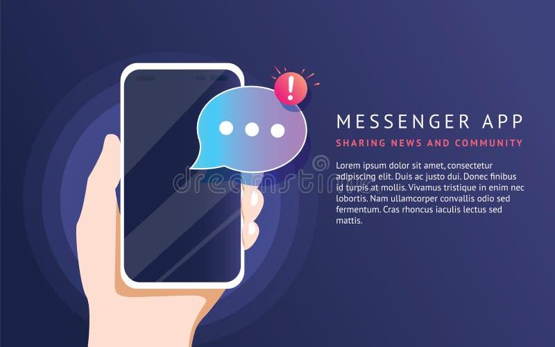 Mobil budbärare app för smsande meddelanden till vänner För neonvektor för begrepp plan illustration stock illustrationer