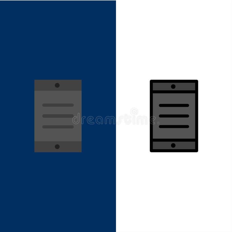 Mobil cell, textsymboler Lägenheten och linjen fylld symbol ställde in blå bakgrund för vektorn stock illustrationer