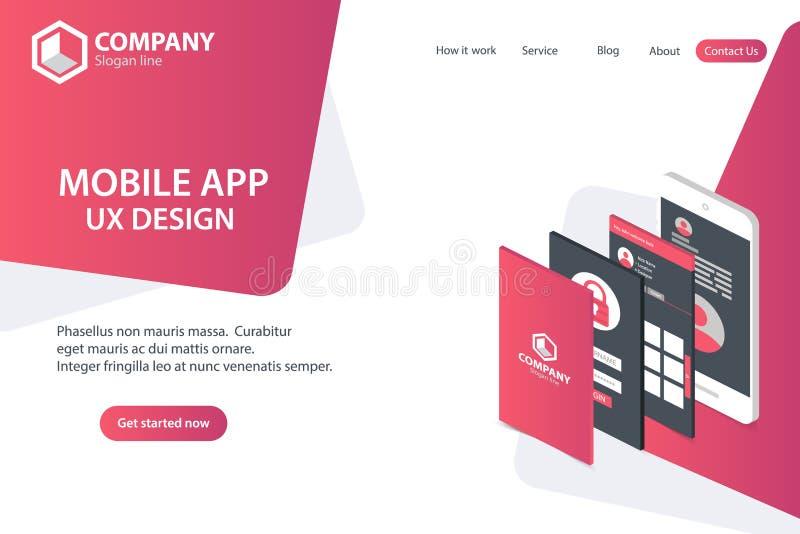 Mobil design för begrepp för mall för vektor för sida för APP-Websitelandning stock illustrationer