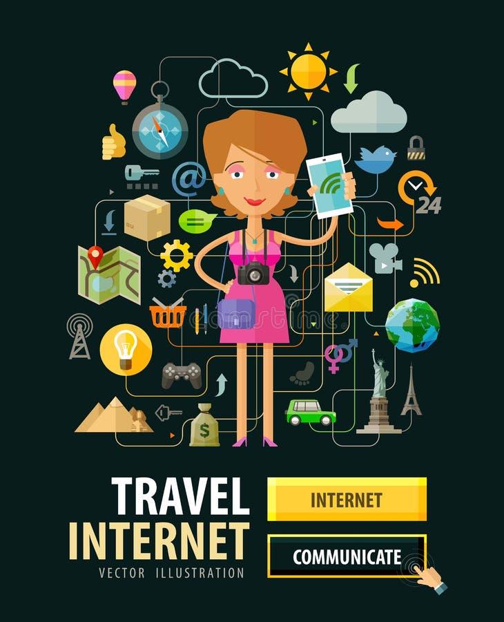 Mobil design för internettjänstvektorlogo stock illustrationer