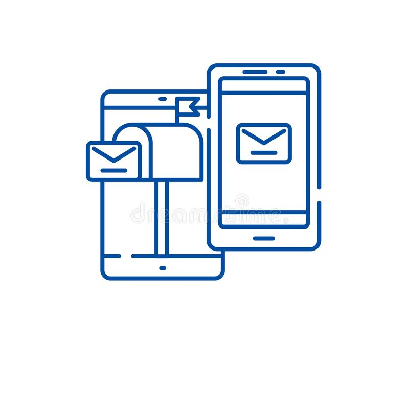 Mobil direkt linje symbolsbegrepp för marknadsföra Mobilt plant vektorsymbol för direkt marknadsföring, tecken, översiktsillustra vektor illustrationer