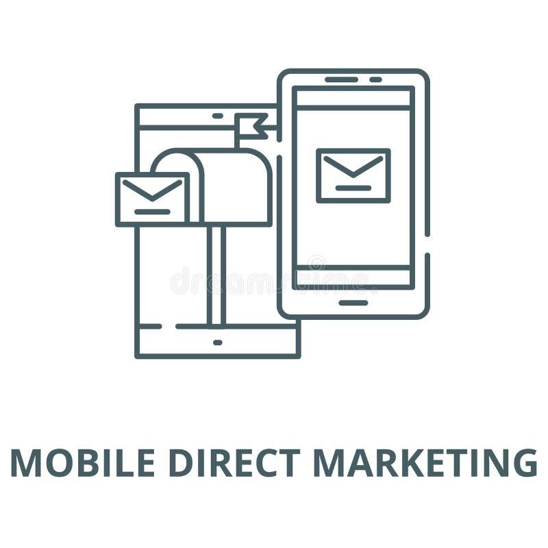 Mobil direkt vektorlinje symbol, linjärt begrepp, översiktstecken, symbol för marknadsföra royaltyfri illustrationer
