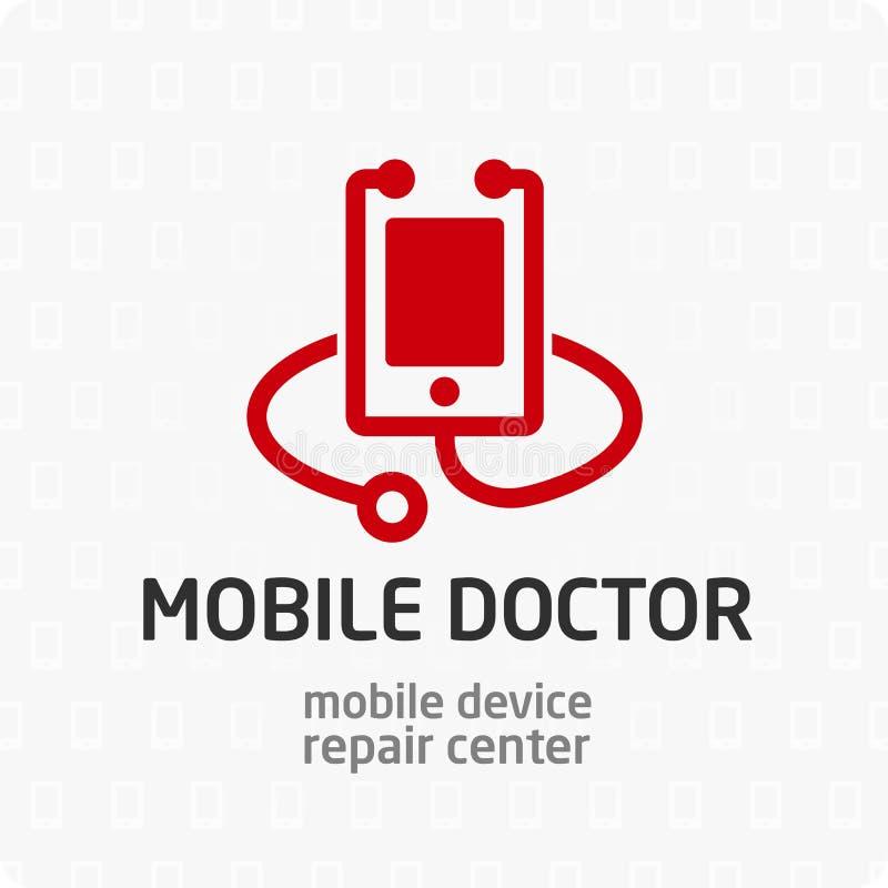 Mobil doktorslogomall stock illustrationer