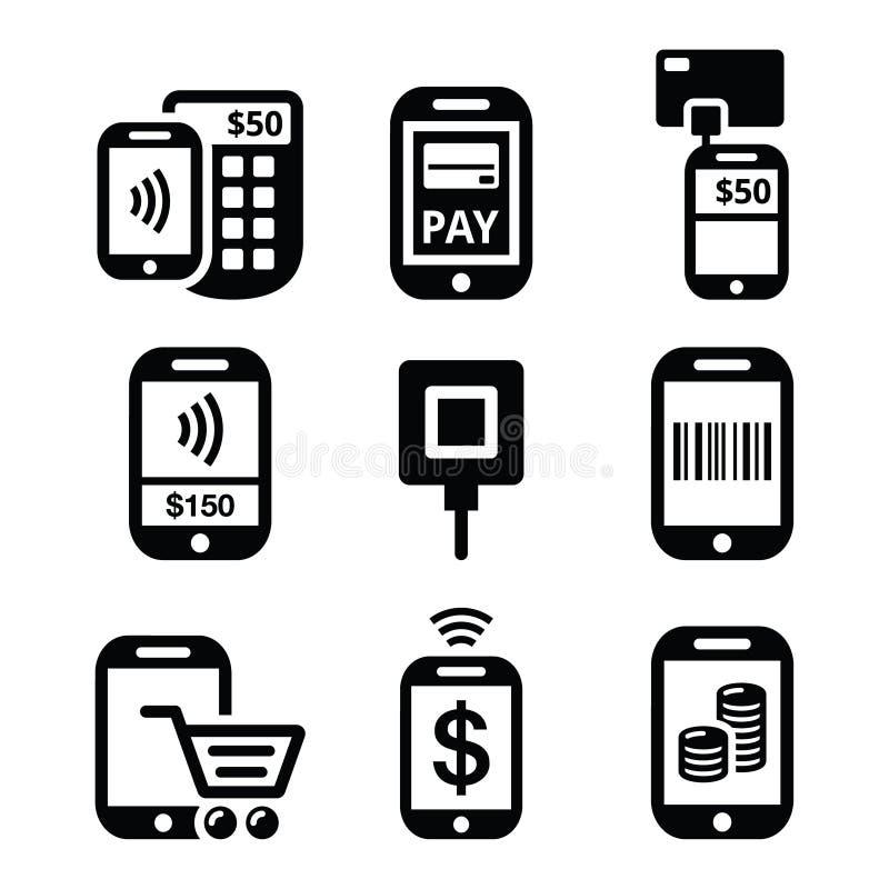 Mobil- eller mobiltelefonbetalningar som direktanslutet betalar med smartphonesymboler stock illustrationer