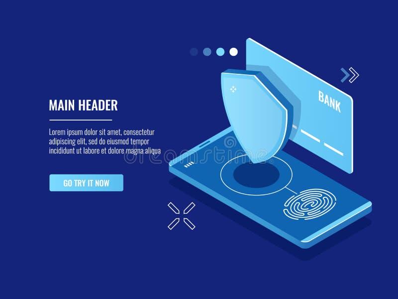 Mobil enhettillträde med fingeravtrycksystemet, online-betalning med handlaget, isometrisk sköldkreditkortsymbol stock illustrationer