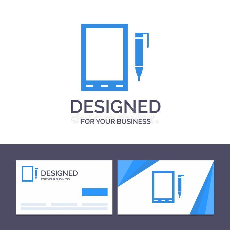 Mobil för idérik mall för affärskort och logo, cell, blyertspenna, designvektorillustration royaltyfri illustrationer