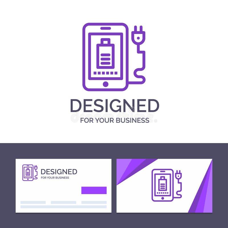 Mobil för idérik mall för affärskort och logo, laddning som är full, proppvektorillustration stock illustrationer