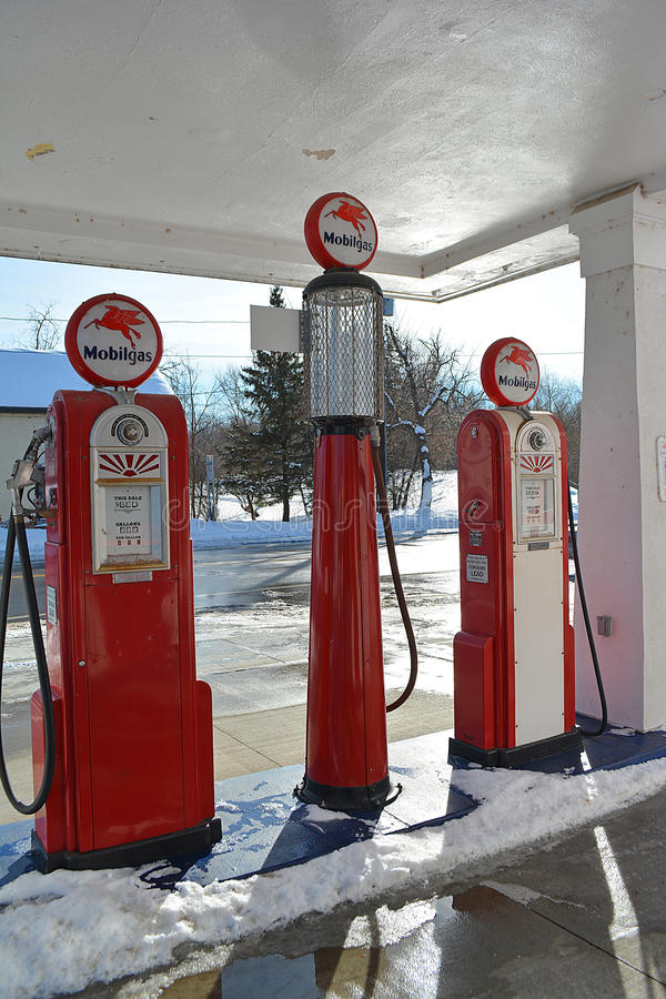Mobil Gas Pumps royalty free stock images