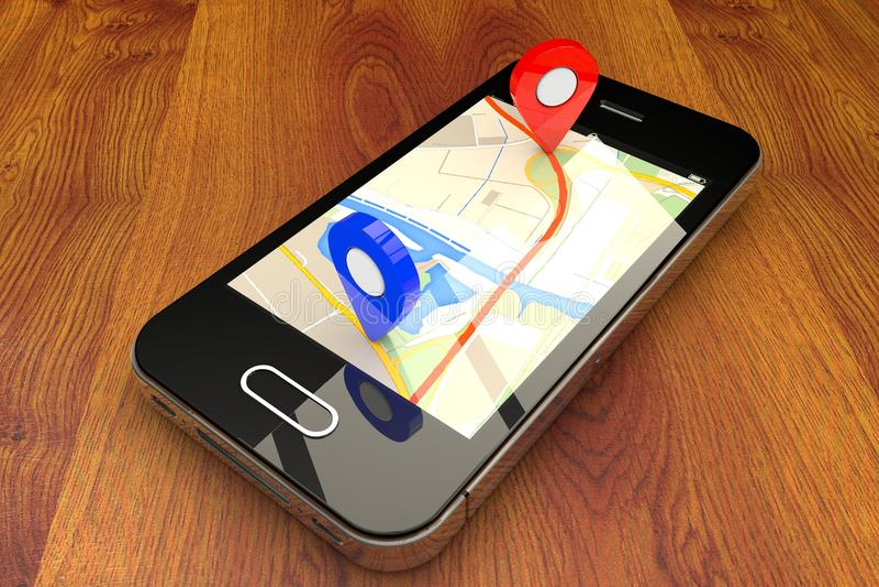 Mobil GPS-navigering fotografering för bildbyråer