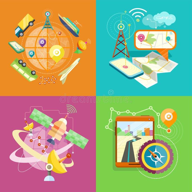 Mobil GPS navigering, lopp och turism vektor illustrationer