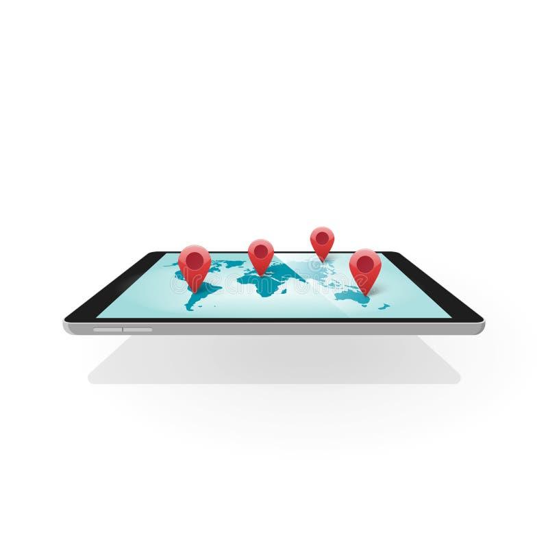 Mobil gps-navigering, minnestavla 3d med världskartanavigatörteknologi royaltyfri illustrationer