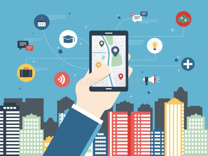 Mobil gps-navigering på mobiltelefonen royaltyfri illustrationer