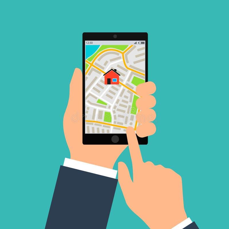 Mobil gps-navigering på mobiltelefonen Handen rymmer smartphonen med stadsöversikten på skärmen Design för vektorillustrationläge vektor illustrationer