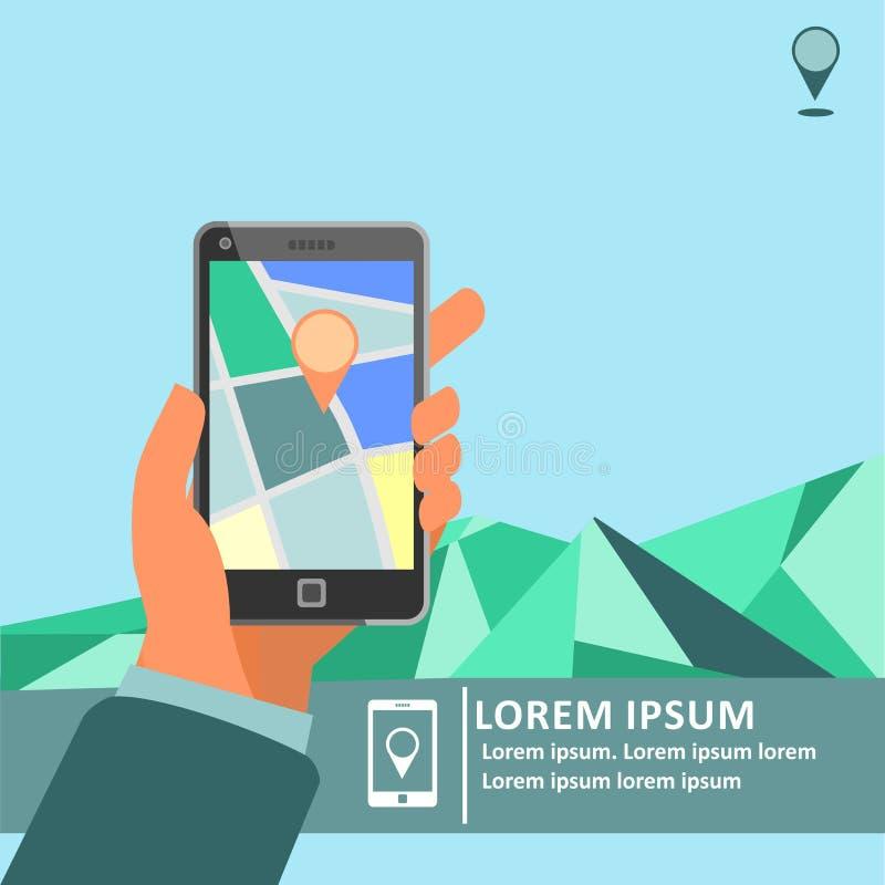 Mobil gps-navigering på mobiltelefonen med översiktsaffischen stock illustrationer