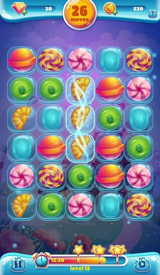 Mobil GUI-spelplan för söt värld stock illustrationer