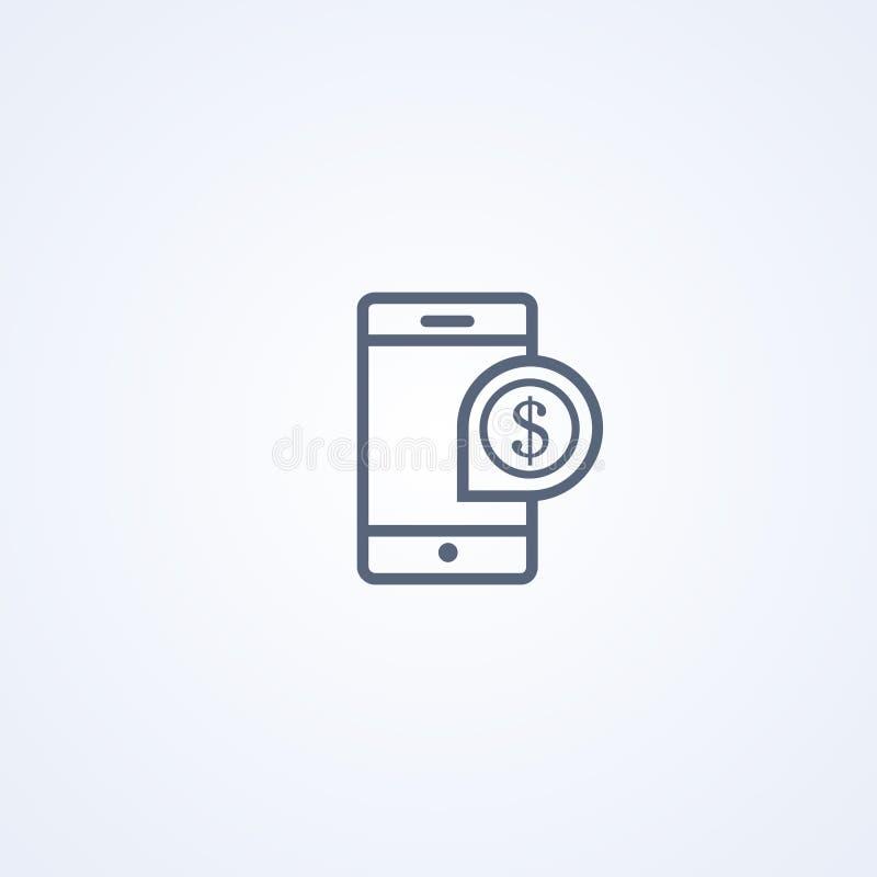 Mobil-het beleggen, vector beste grijs lijnpictogram vector illustratie
