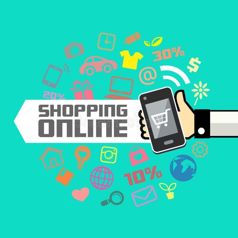 Mobil i den mänskliga handen, online-shopping vektor illustrationer