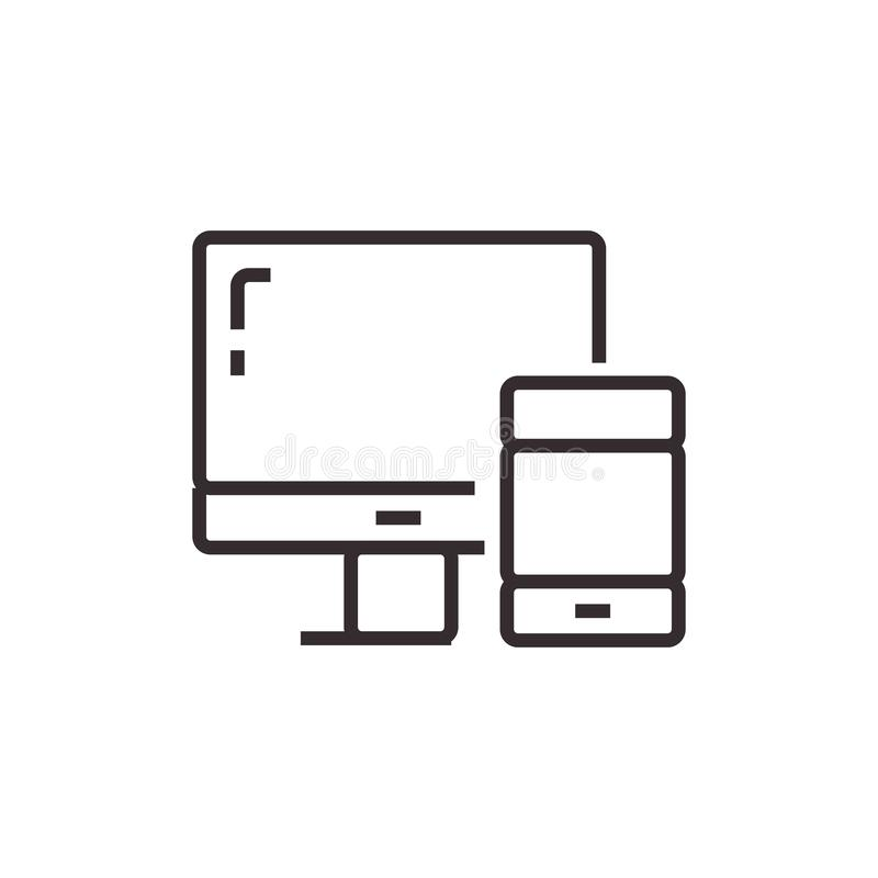 Mobil i interfejsu Wektorowa ikona, piksel doskonalić Eps10 Biurowy symbol royalty ilustracja
