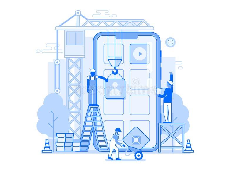 Mobil illustration för applikationutveckling royaltyfri illustrationer