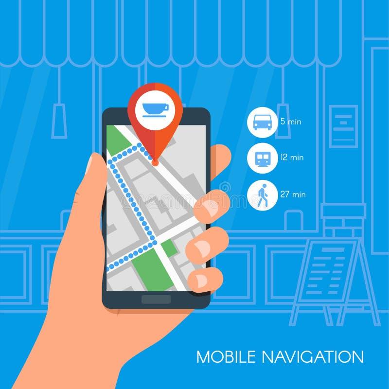 Mobil illustration för navigeringbegreppsvektor Hållande smartphone för hand med gps-stadsöversikten på skärmen och rutten plant royaltyfri illustrationer