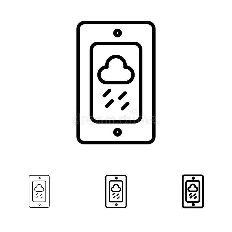 Mobil, krita, väder, regnig djärv och tunn svart linje symbolsuppsättning royaltyfri illustrationer