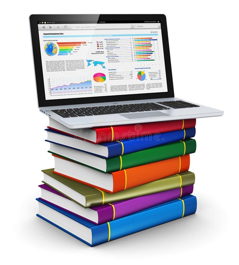 Bärbar dator på bunt av färgar bokar royaltyfri illustrationer