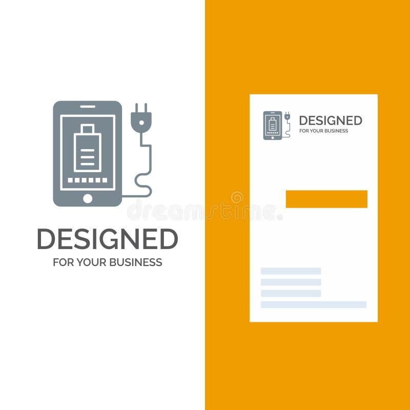 Mobil, laddning, fullt, propp Grey Logo Design och mall för affärskort royaltyfri illustrationer