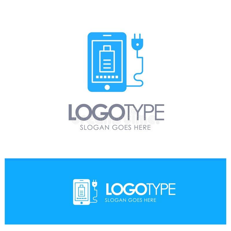 Mobil laddning som är full, blå logovektor för propp vektor illustrationer