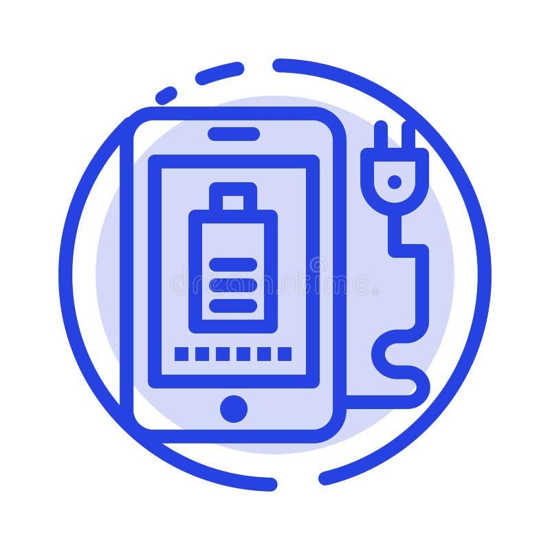 Mobil laddning som är full, blå prickig linje linje symbol för propp stock illustrationer