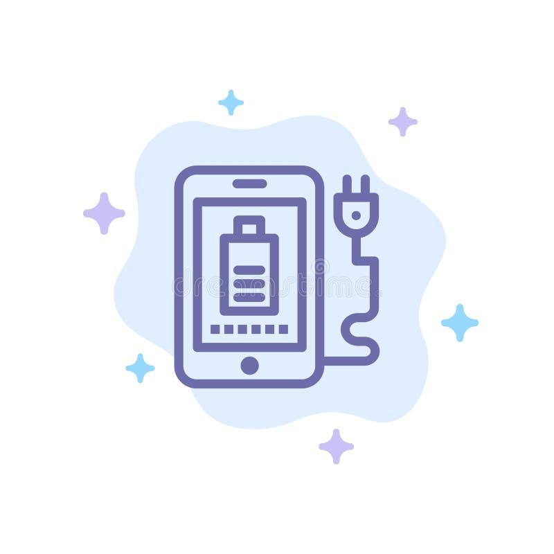 Mobil laddning som är full, blå symbol för propp på abstrakt molnbakgrund stock illustrationer