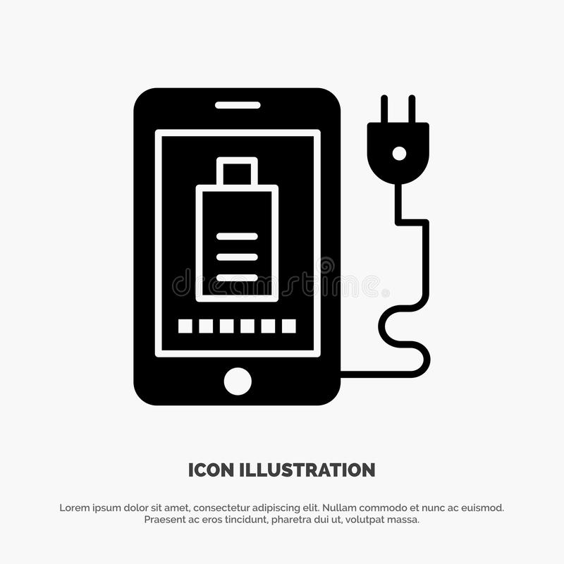 Mobil laddning som är full, fast svart skårasymbol för propp vektor illustrationer