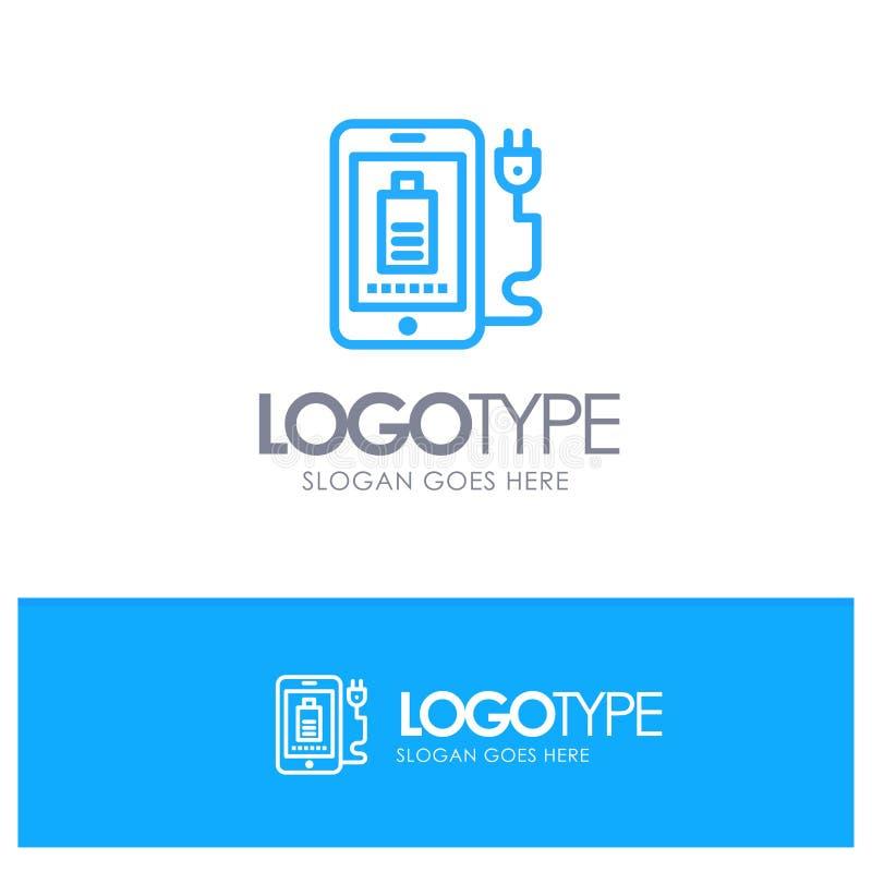 Mobil laddning som är full, proppblått Logo Line Style royaltyfri illustrationer