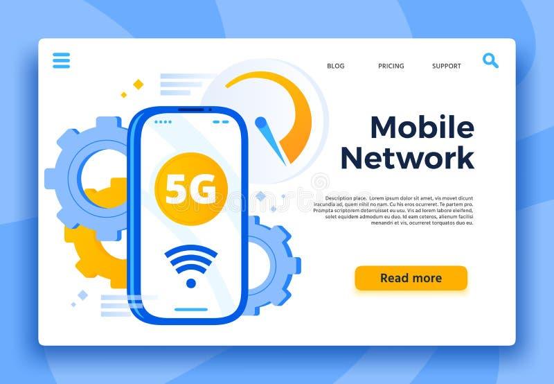 Mobil landningsida för nätverk 5G Kommunikationssystem, cell- anslutning och snabb internet för smartphonevektor stock illustrationer
