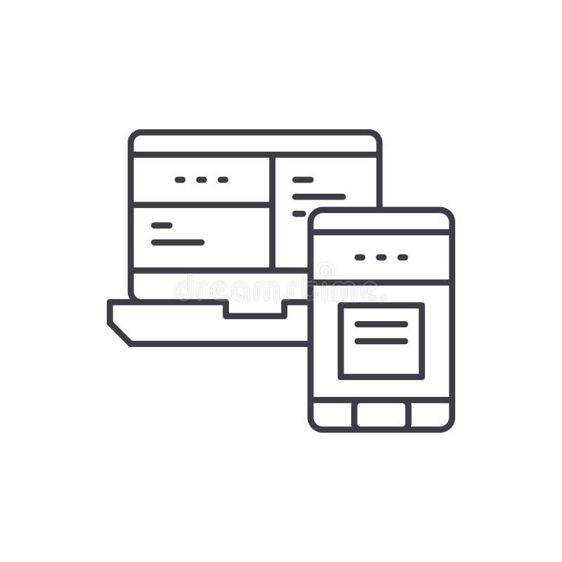 Mobil linje symbolsbegrepp för kontrollsystem Linjär illustration för mobil vektor för kontrollsystem, symbol, tecken vektor illustrationer