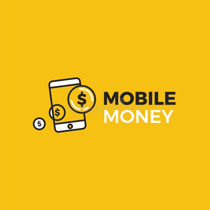 Mobil logo för pengarbetalning En telefon med guld- mynt för dollar vektor illustrationer