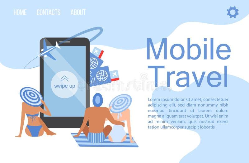 Mobil loppappaffisch i plan stil royaltyfri illustrationer