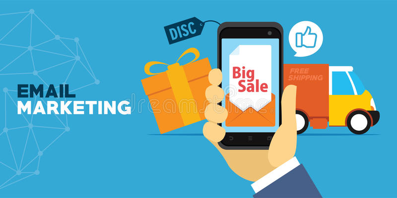Mobil marknadsföring med emailen stock illustrationer