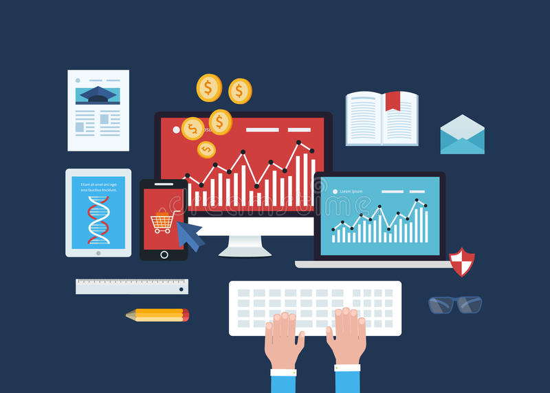 Mobil marknadsföring, online-shopping, utbildning vektor illustrationer