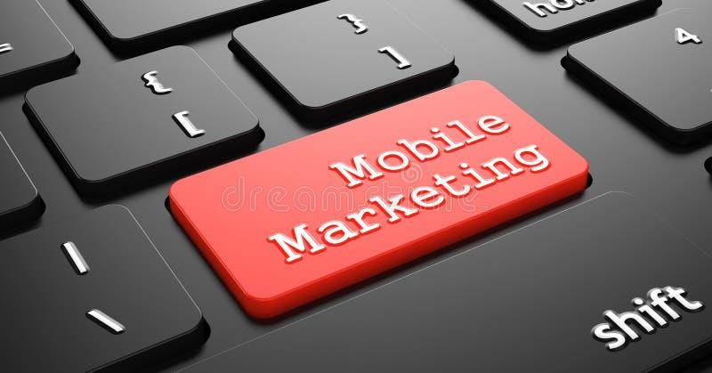Mobil marknadsföring på den röda tangentbordknappen vektor illustrationer