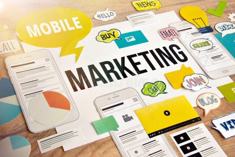 Mobil marknadsföringsbegreppsdesign arkivbild