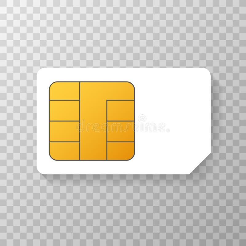 Mobil mobiltelefon Sim Card Chip Isolated f?r vektor p? bakgrund ocks? vektor f?r coreldrawillustration royaltyfri illustrationer