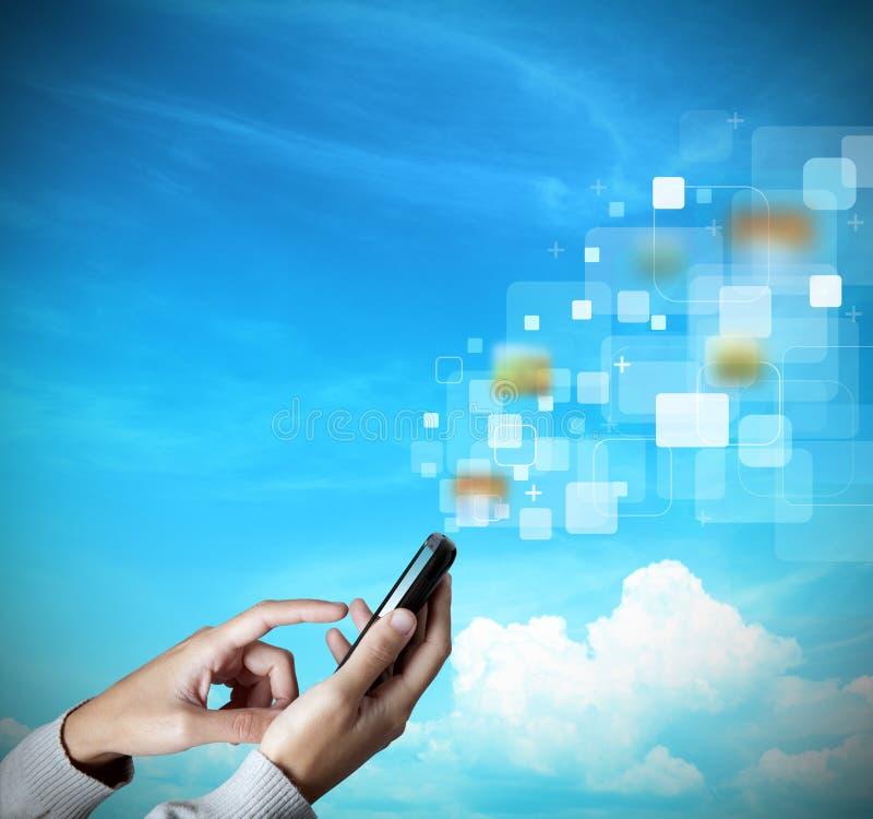 mobil modern telefonskärmtouch royaltyfri fotografi