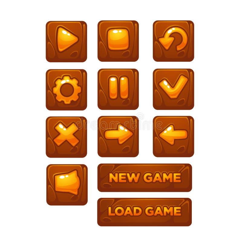 Mobil modig UI, vektorsamling av symboler och knappar, tecknad film vektor illustrationer