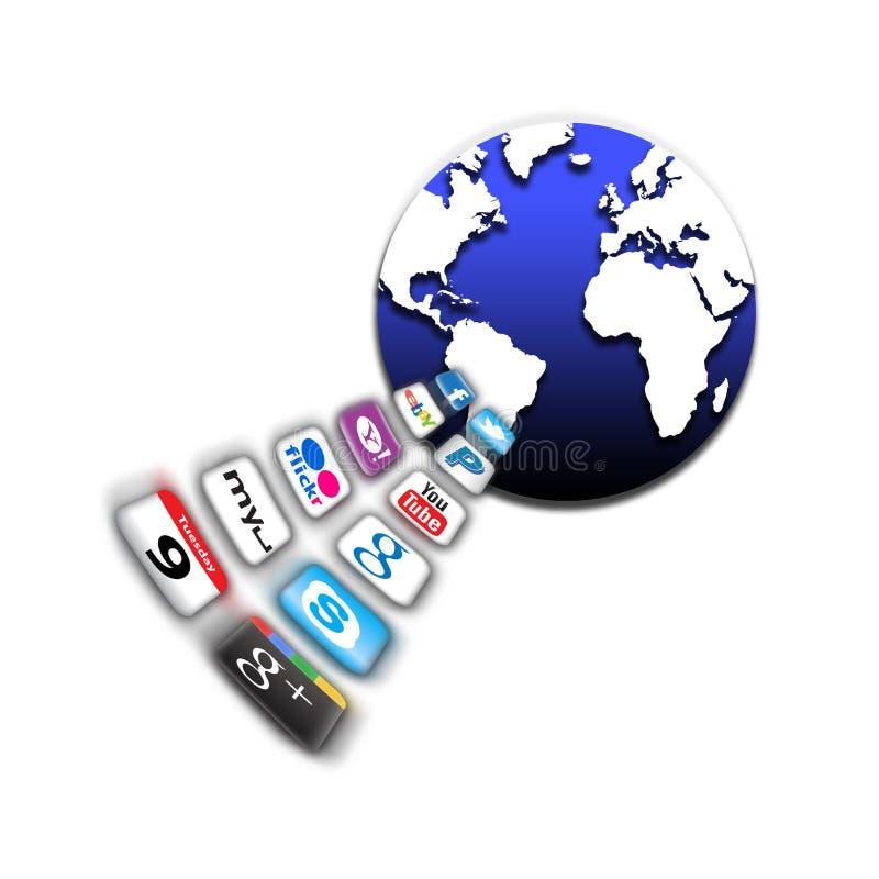 mobil nätverksvärld för apps stock illustrationer